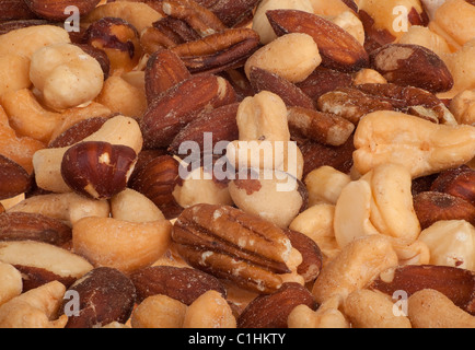 This is a closeup of mixed nuts - Stock Photo