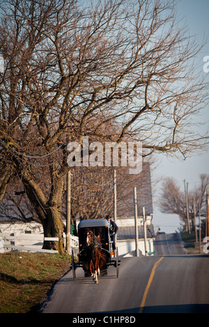 Amish horse buggy at a stable in Gordonville, PA. - Stock Photo