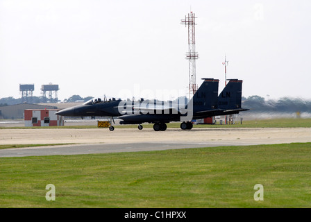Lakenheath, Suffolk. A USAF F-15 Strike Eagle E taxi's for take off at RAF Lakenheath in Suffolk England - Stock Photo