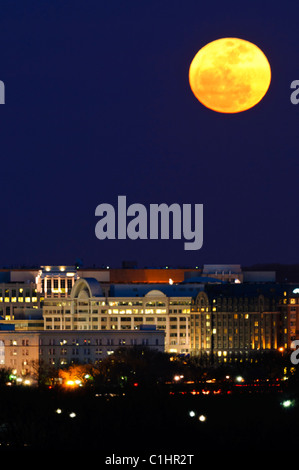 WASHINGTON DC, USA - Rising of the so-called Super Moon taken from near the Iwo Jima Memorial in Arlington, VA, - Stock Photo