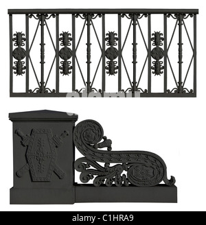 Wrought iron fence and pedestal with flowers ornament - Stock Photo