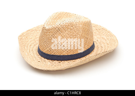 A straw hat with blue strap - Stock Photo