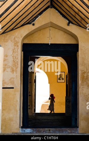Fort scene, Old Stone Town, Lamu, Kenya - Stock Photo