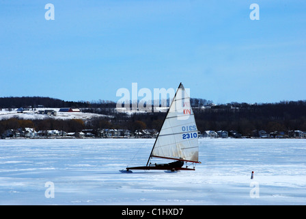 Ice boating on the Finger lakes - Stock Photo