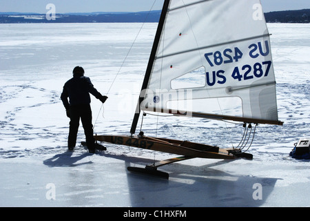 Ice boat is pulled to position for sail. - Stock Photo