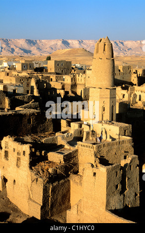 Egypt, libyc desert, old town of El Qasr in the oasis of Dakhla - Stock Photo