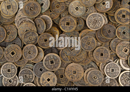 Old Coins, Panjiayuan Flea Market, Chaoyang District, Beijing, China - Stock Photo
