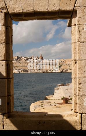 View over Valletta Harbour, Valletta, Malta - Stock Photo