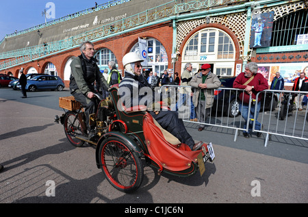 Pioneer Motorcycle Run on Brighton seafront, all the competitors machines had to be built before 1915 to take part - Stock Photo