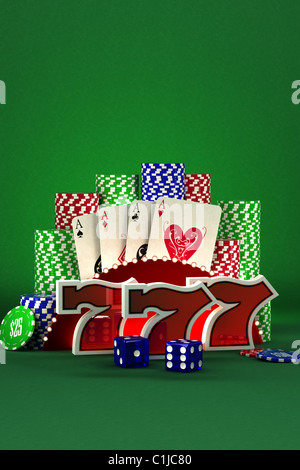 Lucky Sevens with cards and dice over casino background - Stock Photo