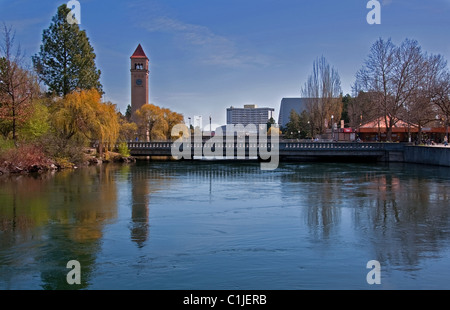 This landscape photo is of Spokane, Washington's Riverfront Park in the early spring. Huge weeping willow trees. - Stock Photo