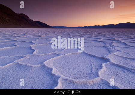 Salt pan polygons at sunset Badwater Basin Death Valley National Park, California, USA - Stock Photo