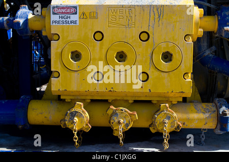 Cuadrilla Resources high pressure drilling equipment at Shale Gas Drill Site,  Presse Hall Farm, Singleton, Blackpool, - Stock Photo