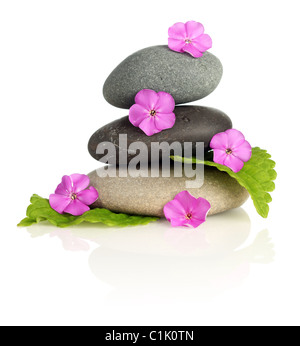 Stacked stones with flowers - Stock Photo