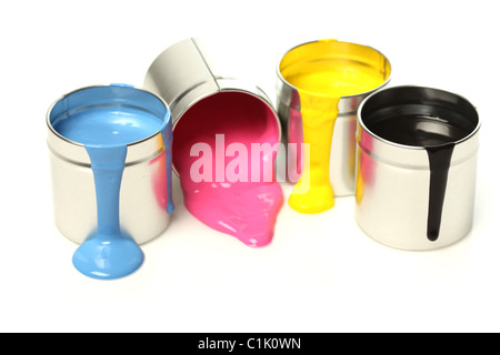 CMYK cans of paint - Stock Photo