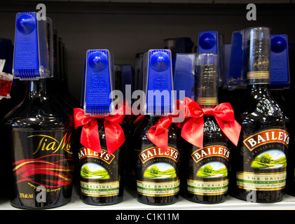 Bottles of Baileys liqueur security tagged in a UK supermarket