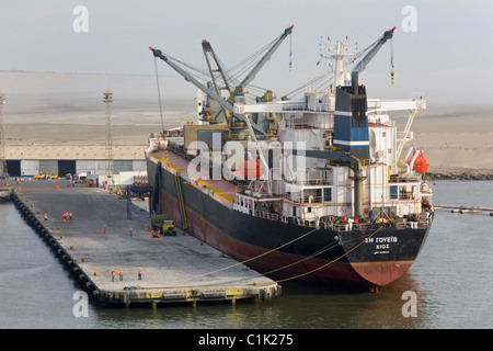 Cargo ship docked at the port of Salaverry, Trujillo, Peru - Stock Photo