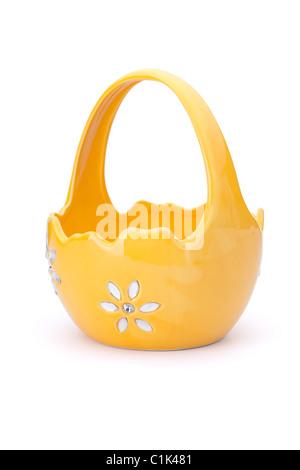 Empty Ceramic Easter basket. Isolated on white. - Stock Photo