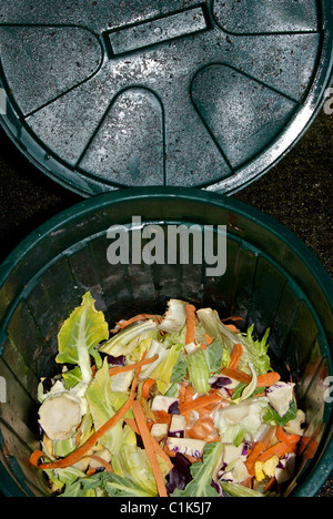plastic pail and cover kitchen waste recycling vegetable peelings ends trimmings for composting stock photo