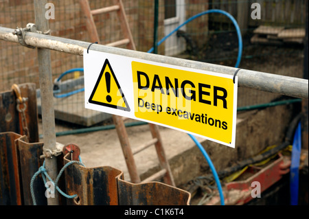 Danger Deep Excavations Warning sign - Stock Photo