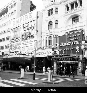 1965. Historical picture, the famous Empire Theatre, Leicester Square, London, with Mecca Dancing, Joe Loss big - Stock Photo