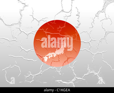 Japan Country Map Stock Vector Art Illustration Vector Image - Japan map red