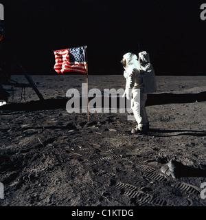 apollo 11 man on the moon buzz aldrin american flag 1969 lunar moon landing astronaut american USA - Stock Photo