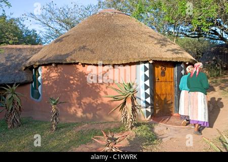 South Africa Kwazulu-Natal province the Simunye zulu village where visitors can be accomodated in zulu style traditional - Stock Photo