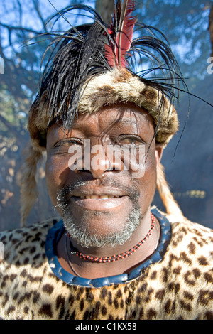 South Africa Kwazulu-Natal province Simunye zulu village where visitors can be accomodated in zulu style the Chief - Stock Photo