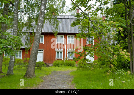 Finland, Helsinki, the Seurasaari park featuring ancient houses on an islet - Stock Photo