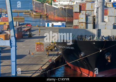 Container ship being unloaded, Port of Corinto, Nicaragua - Stock Photo