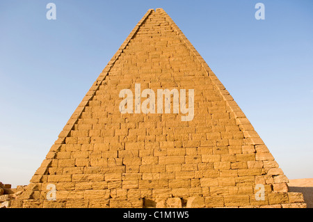 Sudan Karima Northern Sudanese market town lying west of the temple are the Jebel Barkal pyramids similar in style - Stock Photo