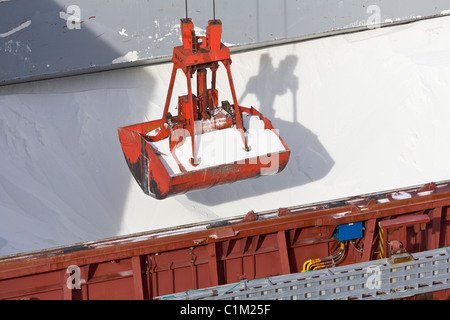 Cargo ship being unloaded at the port of Salaverry, Trujillo, Peru - Stock Photo