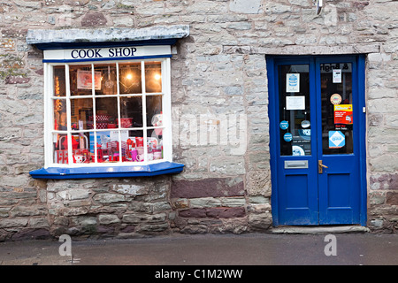 Cook shop window and door Hay on Wye Wales UK - Stock Photo