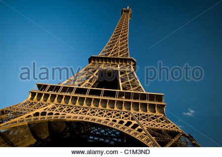 Day time Wide Angle view of The Eiffel Tower from the Trocadero. Paris, France. - Stock Photo
