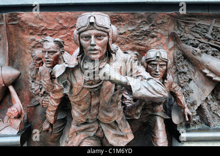 Detail of The Battle of Britain Memorial Sculpture, Victoria Embankment, London, England, UK - Stock Photo