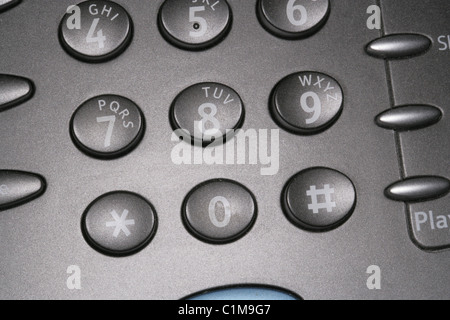 Macro of a Section of a Telephone Dialing Keypad. - Stock Photo