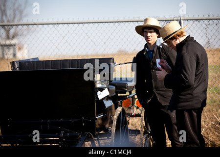 Young Amish men inspect a horse buggy during the Annual Mud Sale to support the Fire Department in Gordonville, - Stock Photo
