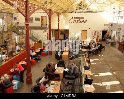 The Station a former railway train station at Richmond North Yorkshire now a busy arts centre gallery cinema and - Stock Photo