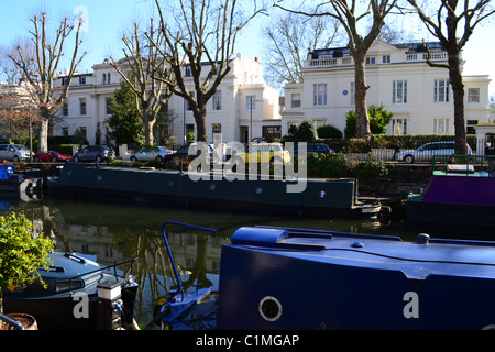 Colourful boats in Little Venice, Regent's Canal, London ARTIFEX LUCIS - Stock Photo