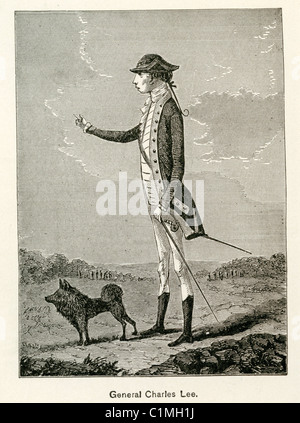 Old lithograph of Charles Lee, American Revolutionary War general - Stock Photo