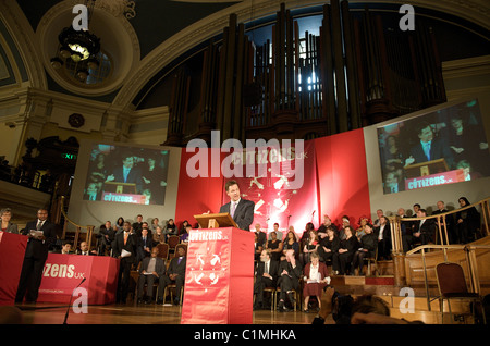 British Liberal Democrat Party leader, Nick Clegg give a speech in the Citizens UK General Election Assembly, London, - Stock Photo