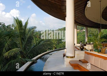 Indonesia, Bali, luxury Hotel Four-seasons in Sayan near Ubud - Stock Photo
