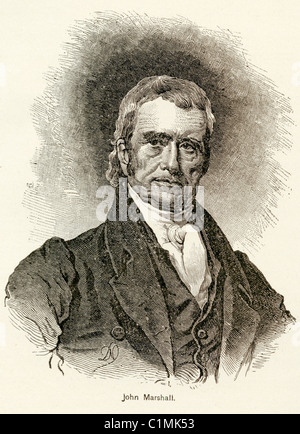 Old lithograph of John Marshall, the Chief Justice of the United States (1801-1835) - Stock Photo
