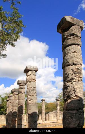 Columns Mayan Chichen Itza Mexico ruins in rows Yucatan - Stock Photo