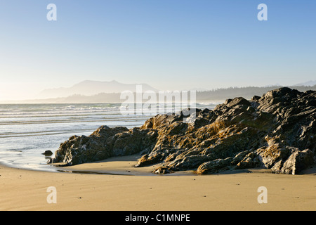 Rocky shore of Long Beach in Pacific Rim National park, Canada - Stock Photo