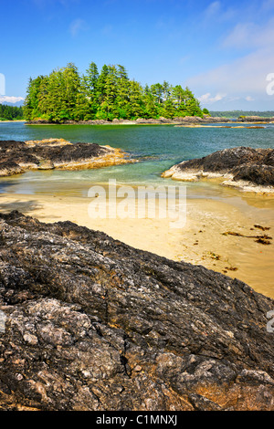 View from Long Beach in Pacific Rim National park, Canada - Stock Photo