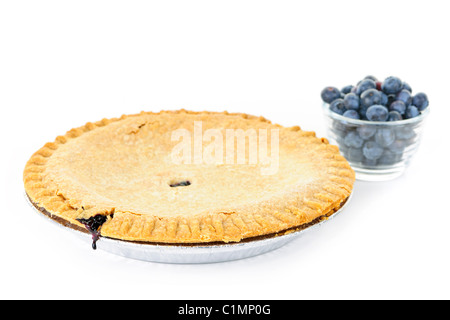 Whole blueberry pie with fresh wild blueberries isolated on white background - Stock Photo
