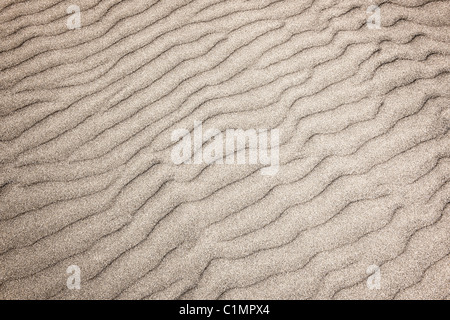 Natural background of sand in ripple wave pattern - Stock Photo