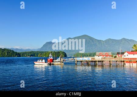 Boats at dock in Tofino on Pacific coast of British Columbia, Canada - Stock Photo